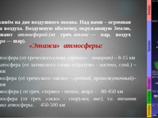 1. Тропосфера (от греческого слова «тропос» - поворот) – 8-15 км 2. Стратосфе