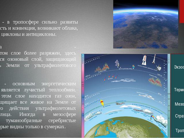 Стратосфера - воздух в этом слое более разряжен, здесь располагается озоновый...