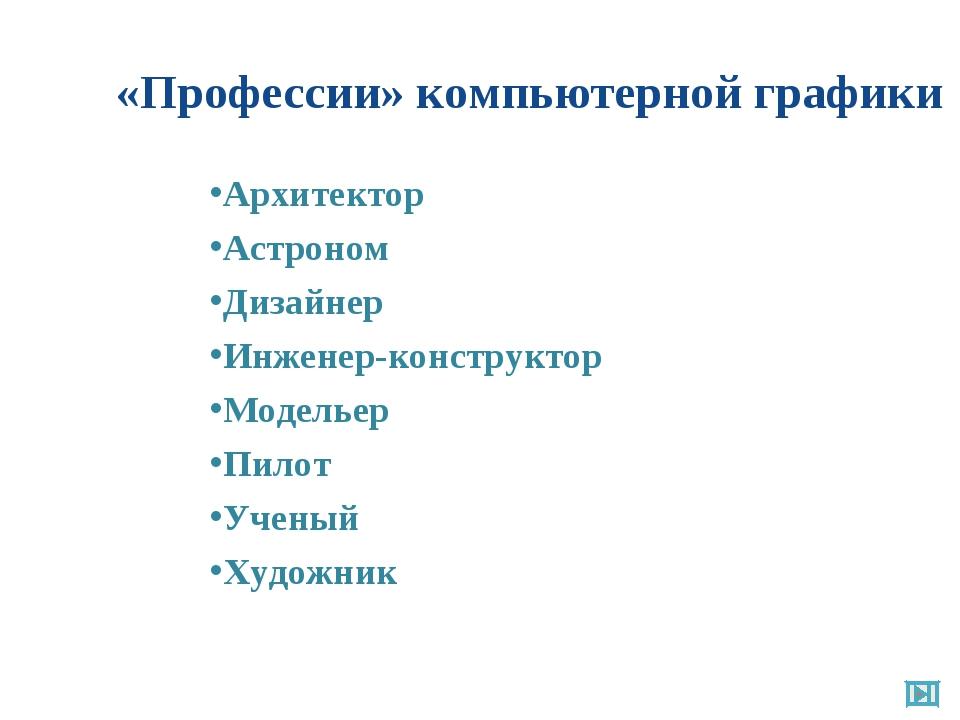 «Профессии» компьютерной графики Архитектор Астроном Дизайнер Инженер-констру...