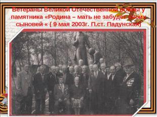 Ветераны Великой Отечественной войны у памятника «Родина – мать не забудет св