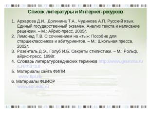 Список литературы и Интернет-ресурсов Архарова Д.И., Долинина Т.А., Чудинова
