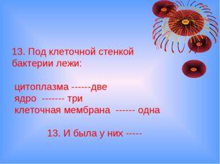 13. Под клеточной стенкой бактерии лежи: цитоплазма ------две ядро ------- тр