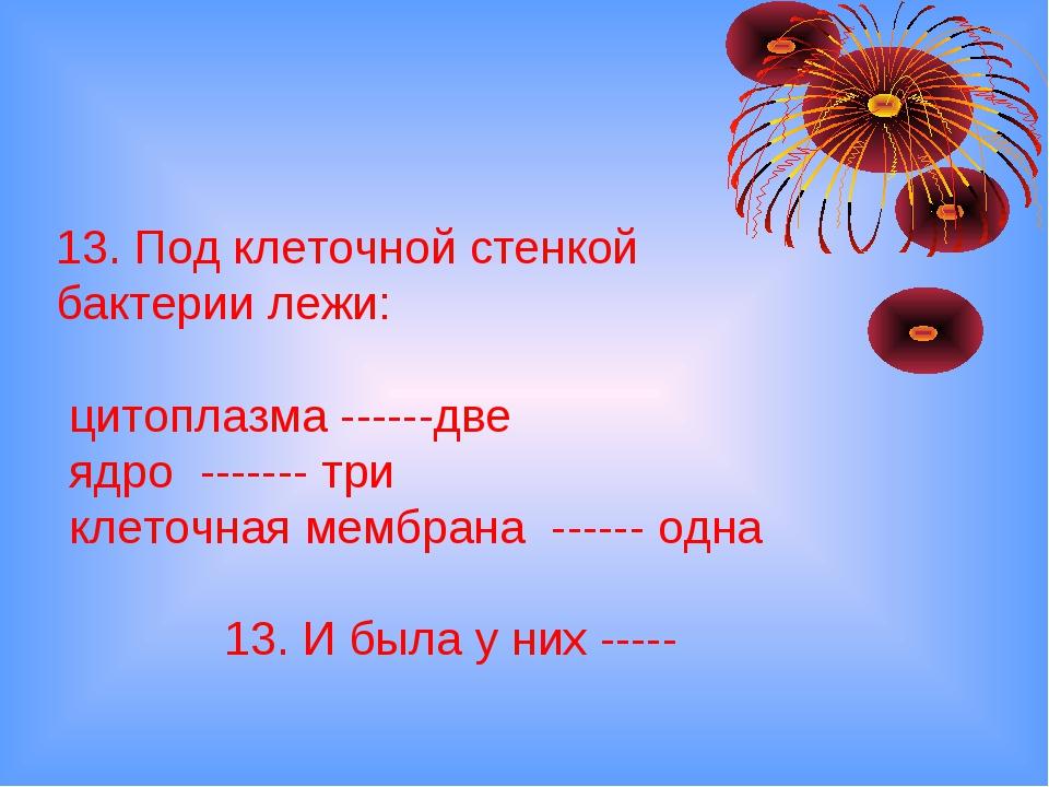 13. Под клеточной стенкой бактерии лежи: цитоплазма ------две ядро ------- тр...