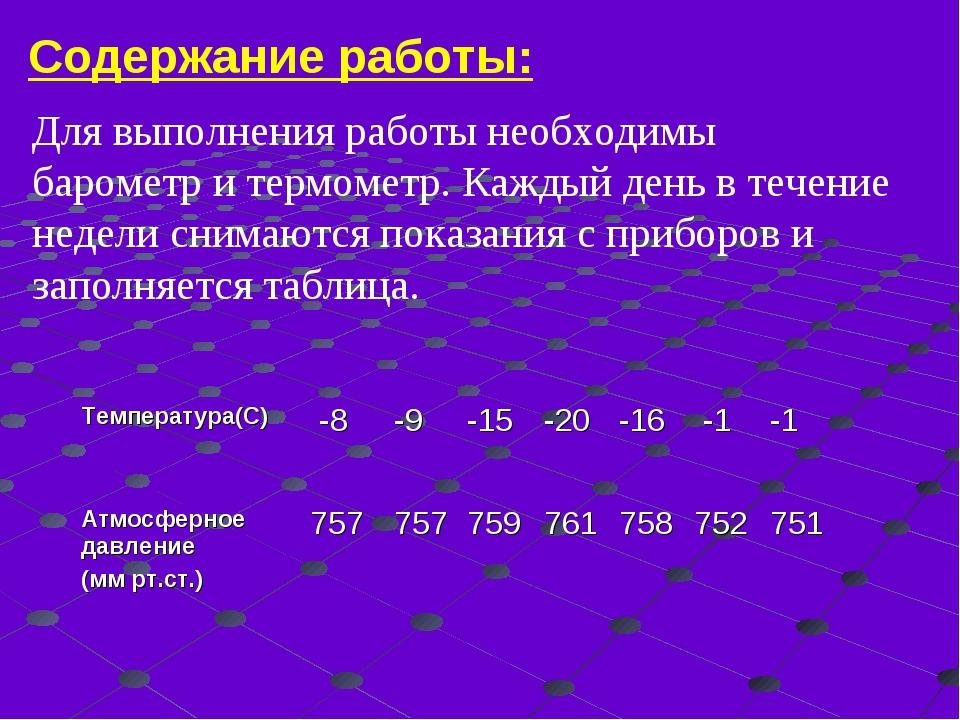 Содержание работы: Для выполнения работы необходимы барометр и термометр. Каж...
