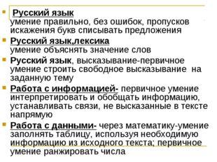 Русский язык умение правильно, без ошибок, пропусков искажения букв списыват