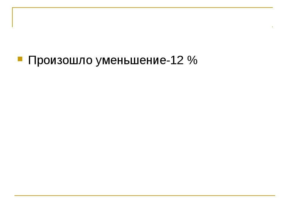 Произошло уменьшение-12 %