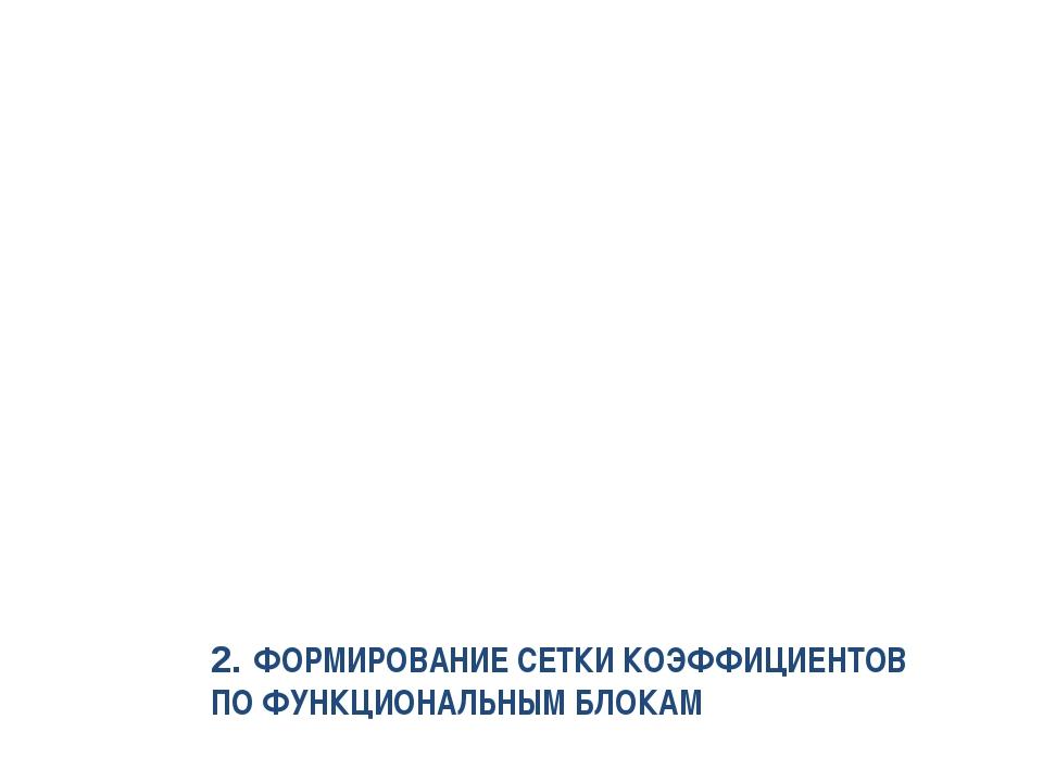 2. ФОРМИРОВАНИЕ СЕТКИ КОЭФФИЦИЕНТОВ ПО ФУНКЦИОНАЛЬНЫМ БЛОКАМ