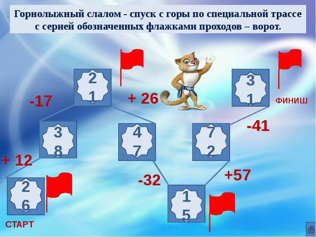 Реши примеры и узнаешь, что такое «Слалом» ФИНИШ СТАРТ + 12 -17 + 26 -32 +57...
