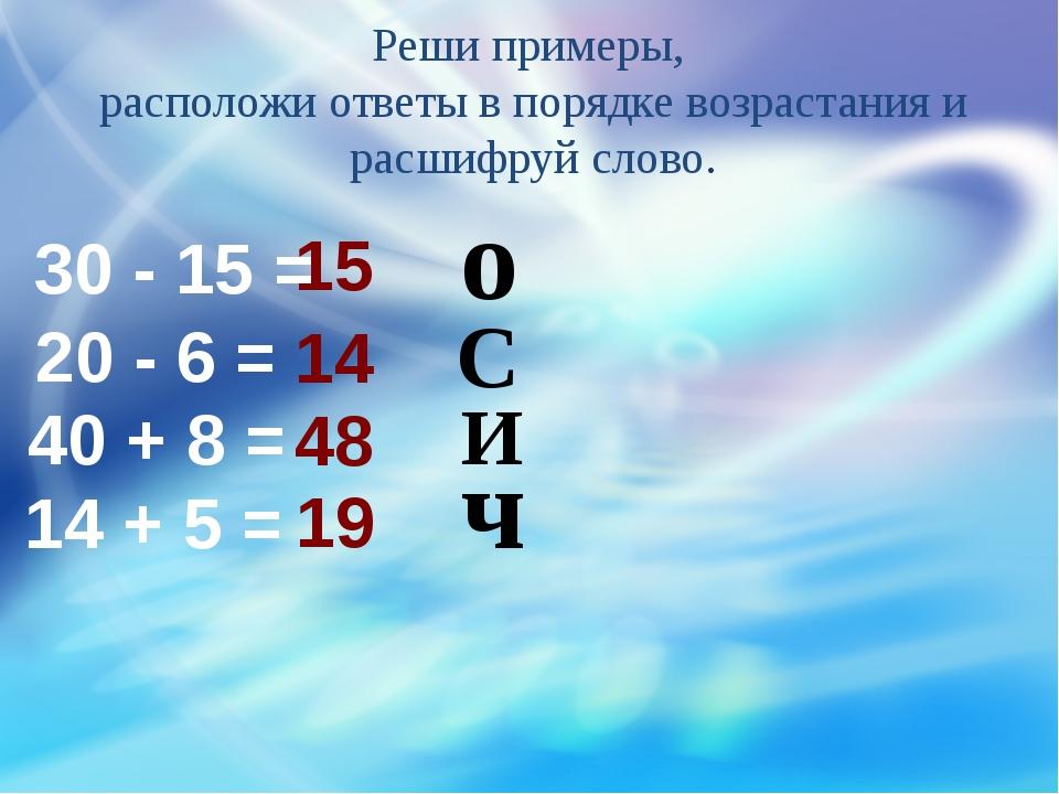 Реши примеры, расположи ответы в порядке возрастания и расшифруй слово. о ч С...