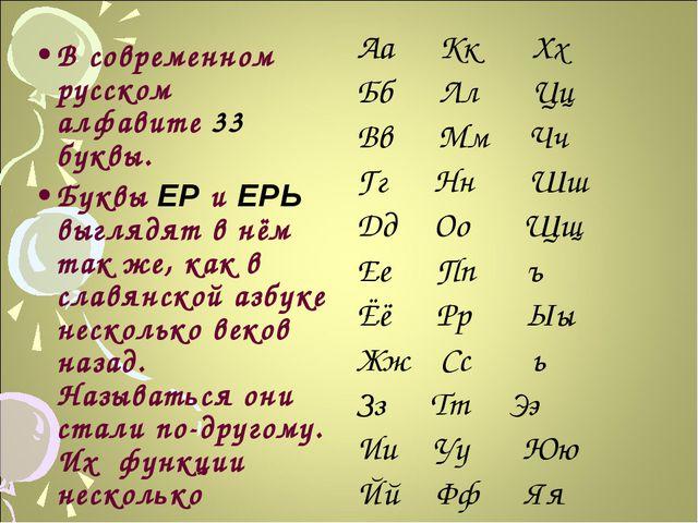 В современном русском алфавите 33 буквы. Буквы ЕР и ЕРЬ выглядят в нём так же...