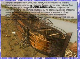 Получив откровение от Бога, Ной приступил к сооружению ковчега. Ковчег строил