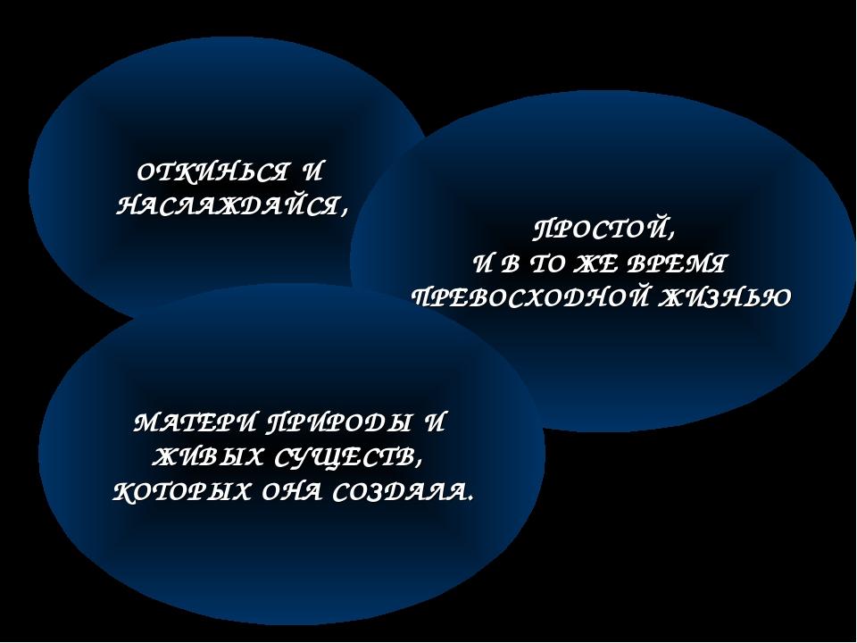 ОТКИНЬСЯ И НАСЛАЖДАЙСЯ, ПРОСТОЙ, И В ТО ЖЕ ВРЕМЯ ПРЕВОСХОДНОЙ ЖИЗНЬЮ МАТЕРИ П...