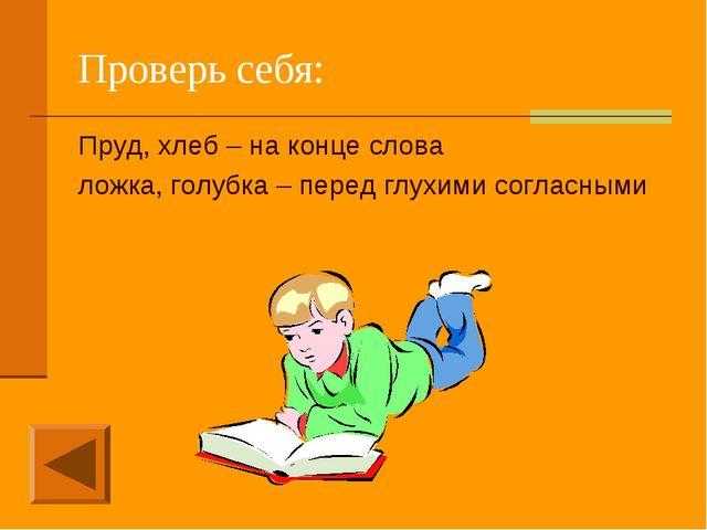 Проверь себя: Пруд, хлеб – на конце слова ложка, голубка – перед глухими согл...