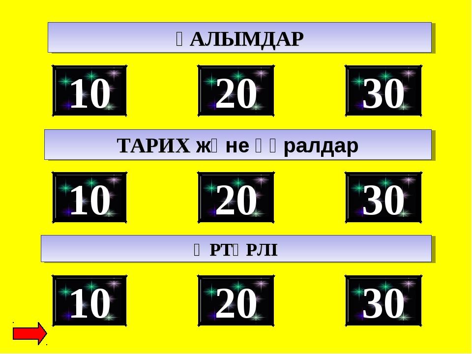 30 10 20 ҒАЛЫМДАР ТАРИХ және құралдар 30 10 20 30 10 20 ӘРТҮРЛІ