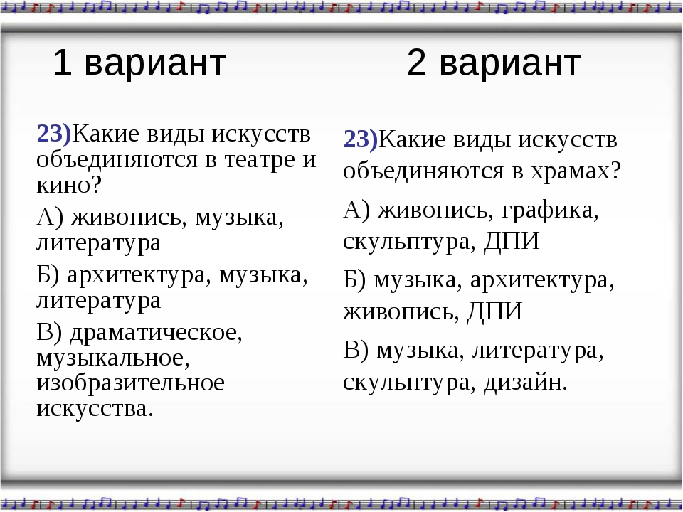 23)Какие виды искусств объединяются в театре и кино? А) живопись, музыка, лит...