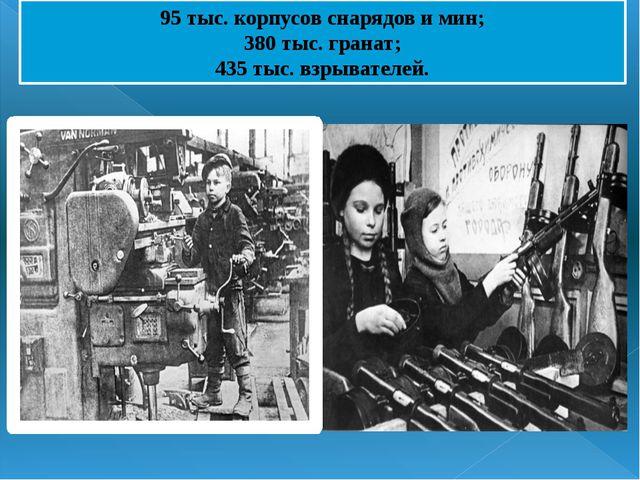 95 тыс. корпусов снарядов и мин; 380 тыс. гранат; 435 тыс. взрывателей.