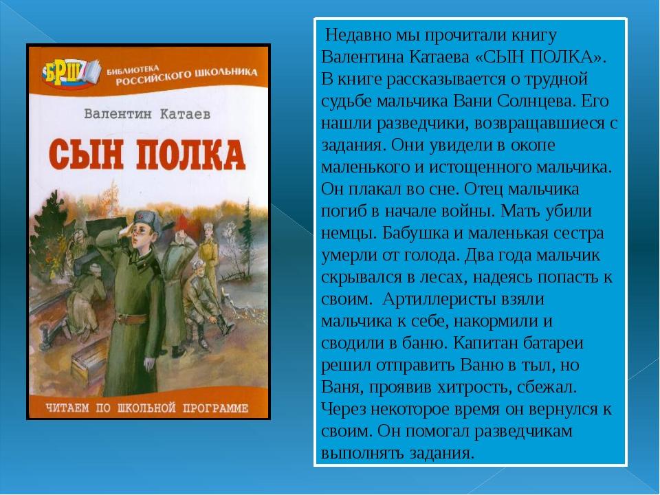 Недавно мы прочитали книгу Валентина Катаева «СЫН ПОЛКА». В книге рассказыва...