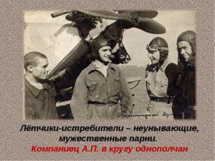 Лётчики-истребители – неунывающие, мужественные парни. Компаниец А.П. в кругу