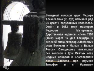 Вкладной колокол царя Федора Алексеевича (31 пуд) начинает ряд из десяти подз
