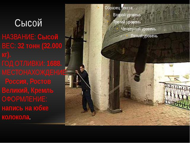 Сысой НАЗВАНИЕ: Сысой ВЕС: 32 тонн (32.000 кг). ГОД ОТЛИВКИ: 1688. МЕСТОНАХОЖ...