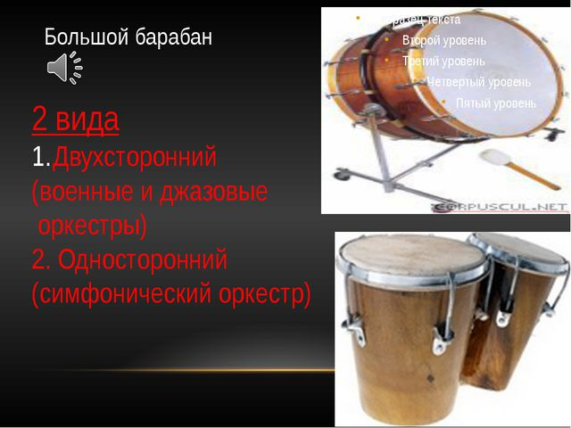 Большой барабан 2 вида Двухсторонний (военные и джазовые оркестры) 2. Односто...