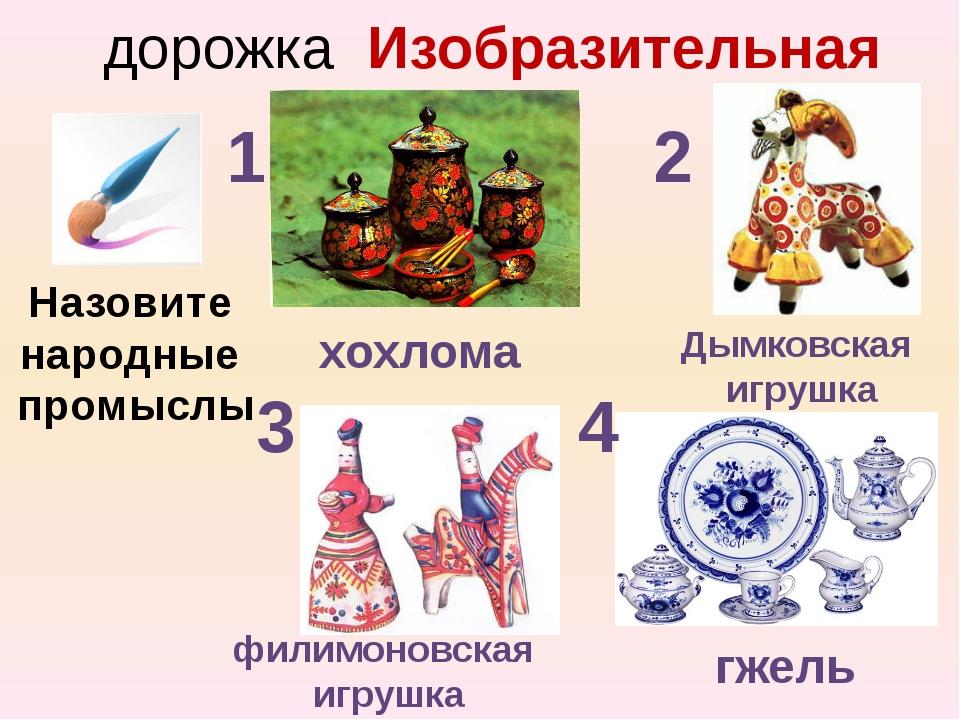 дорожка Изобразительная Назовите народные промыслы 1 2 3 4 хохлома Дымковская...