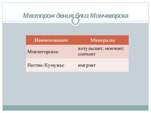 Месторождения близ Мончегорска НаименованиеМинералы Мончегорское котульскит