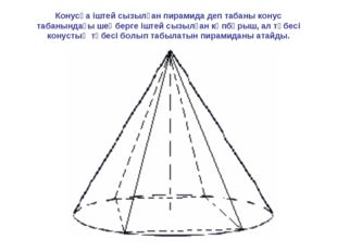 Конусқа іштей сызылған пирамида деп табаны конус табанындағы шеңберге іштей с