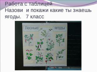 Работа с таблицей Назови и покажи какие ты знаешь ягоды. 7 класс