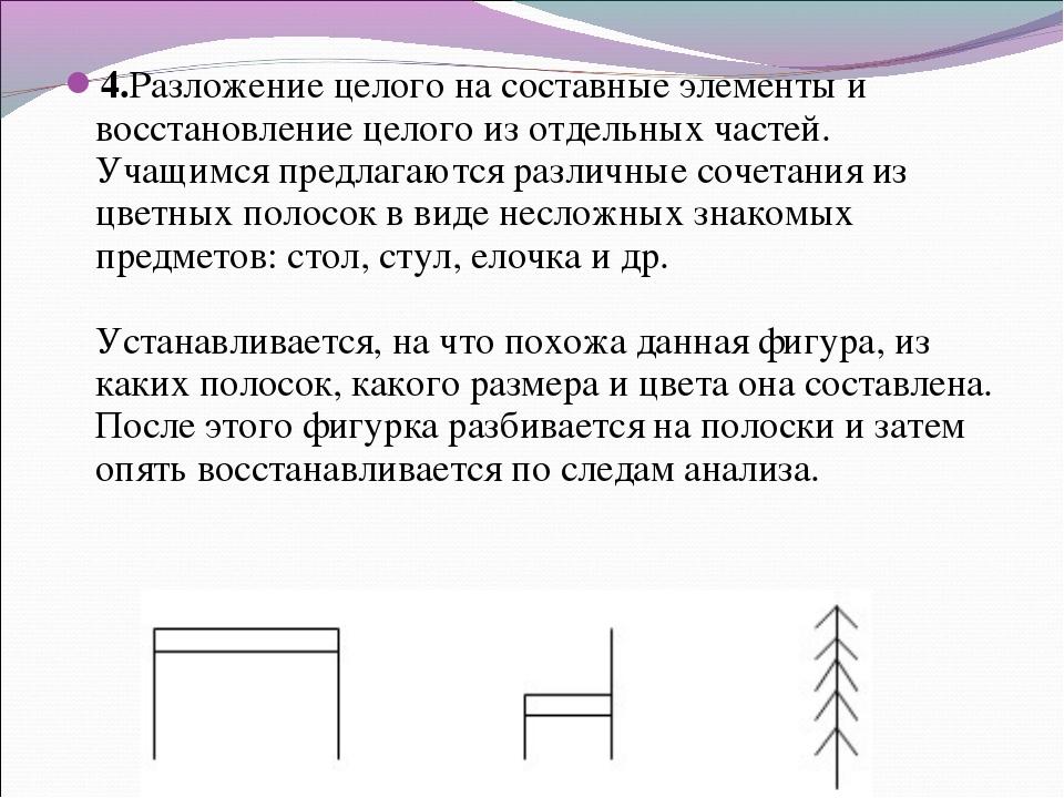 4.Разложение целого на составные элементы и восстановление целого из отдельны...