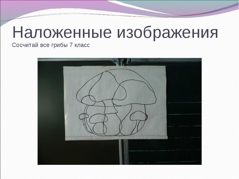 Наложенные изображения Сосчитай все грибы 7 класс
