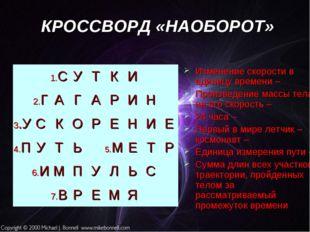 КРОССВОРД «НАОБОРОТ» Изменение скорости в единицу времени – Произведение масс