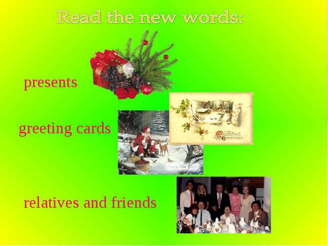 presents greeting cards relatives and friends