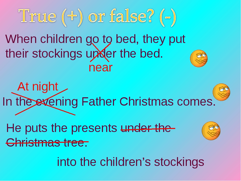 In the evening Father Christmas comes. He puts the presents under the Christm...