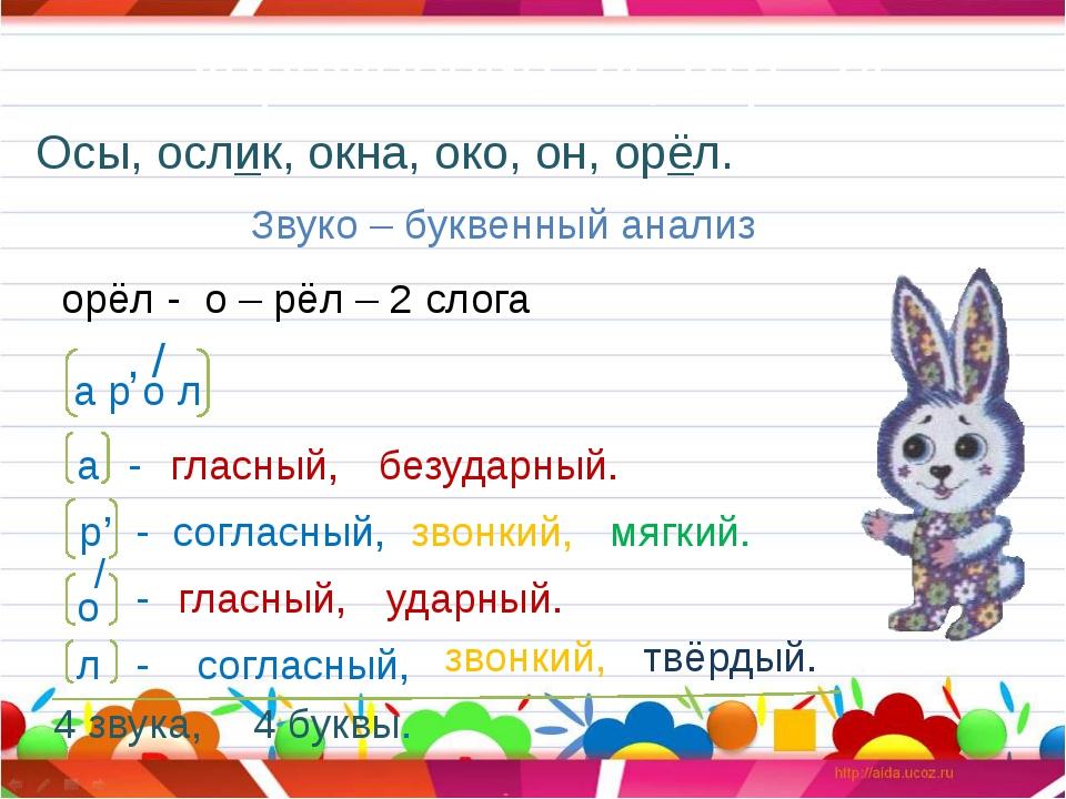 Упражнение 24, стр. 24. Осы, ослик, окна, око, он, орёл. Звуко – буквенный ан...