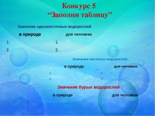 """Конкурс 5 """"Заполни таблицу"""" Значение одноклеточных водорослей в природе для ч"""