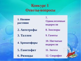 Конкурс 1 Ответы-вопросы  1. Низшие растения  7. Одноклеточные водоросли