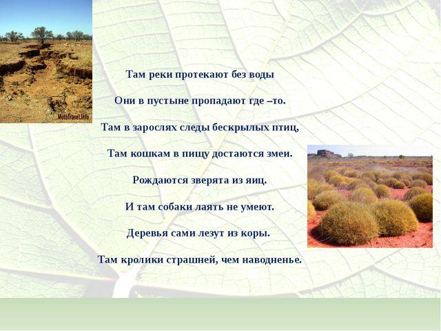 Там реки протекают без воды Они в пустыне пропадают где –то. Там в зарослях...