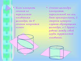 Если плоскость сечения не параллельна основаниям цилиндра, то в сечении получ