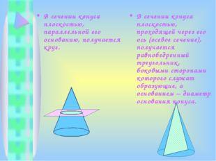 В сечении конуса плоскостью, параллельной его основанию, получается круг. В с