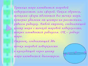 Граница шара называется шаровой поверхностью, или сферой. Таким образом, точк