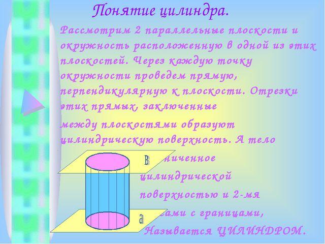 Понятие цилиндра. Рассмотрим 2 параллельные плоскости и окружность расположе...