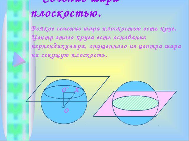 Сечение шара плоскостью. Всякое сечение шара плоскостью есть круг. Центр это...