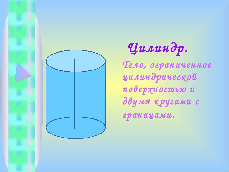 Цилиндр. Тело, ограниченное цилиндрической поверхностью и двумя кругами с гр...