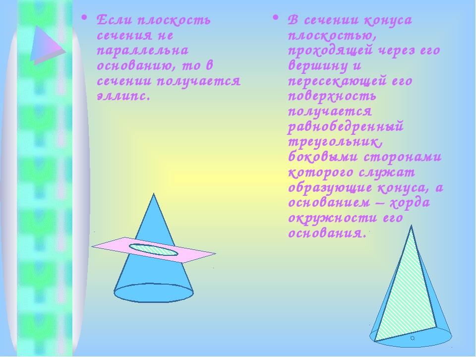 Если плоскость сечения не параллельна основанию, то в сечении получается элли...