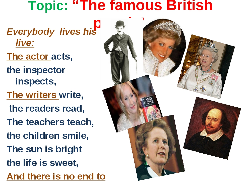 "Topic: ""The famous British people"" Everybody lives his live: The actor acts,..."