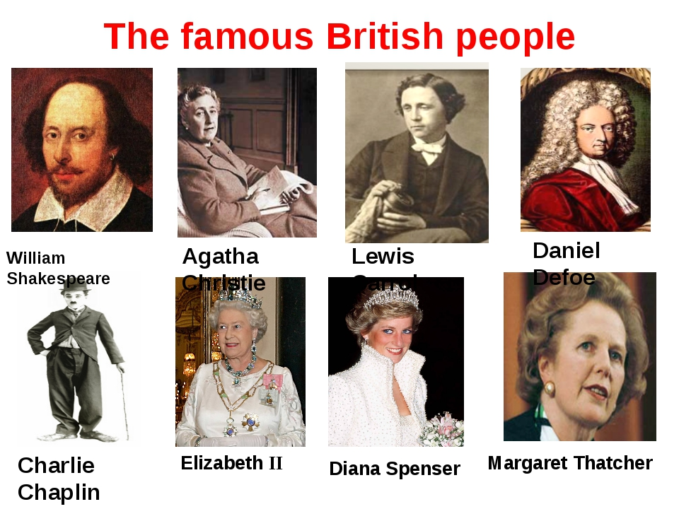 The famous British people William Shakespeare Agatha Christie Lewis Carrol Da...