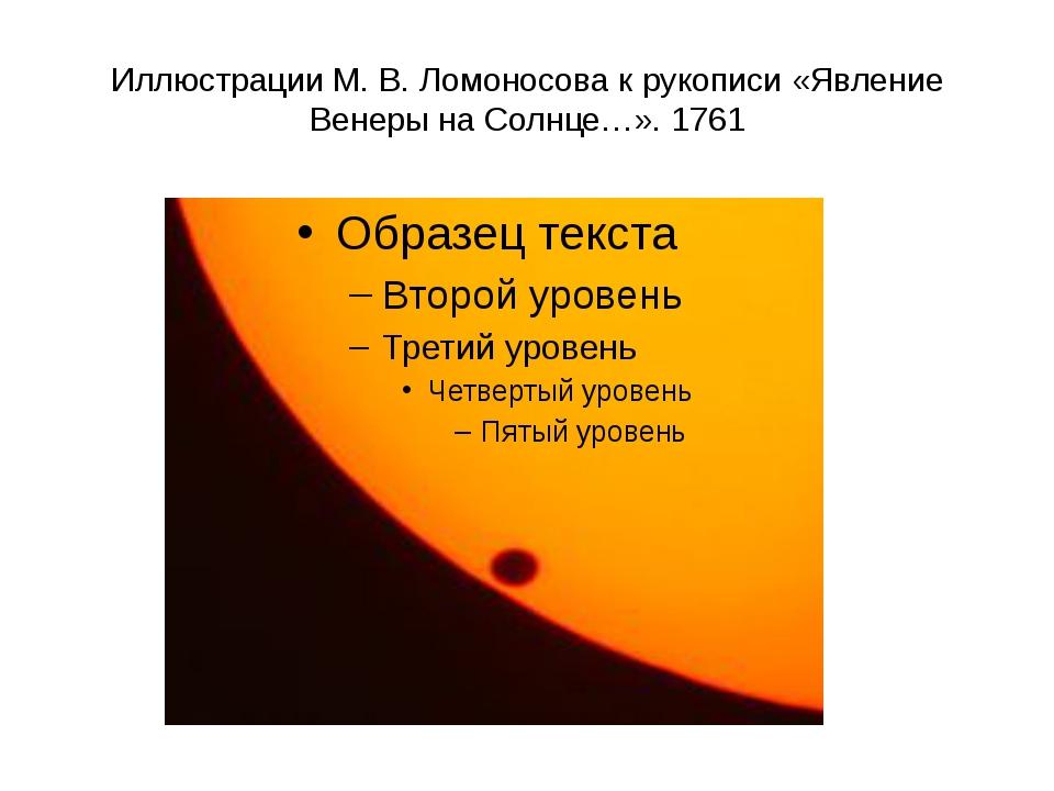Иллюстрации М.В.Ломоносова к рукописи «Явление Венеры на Солнце…». 1761