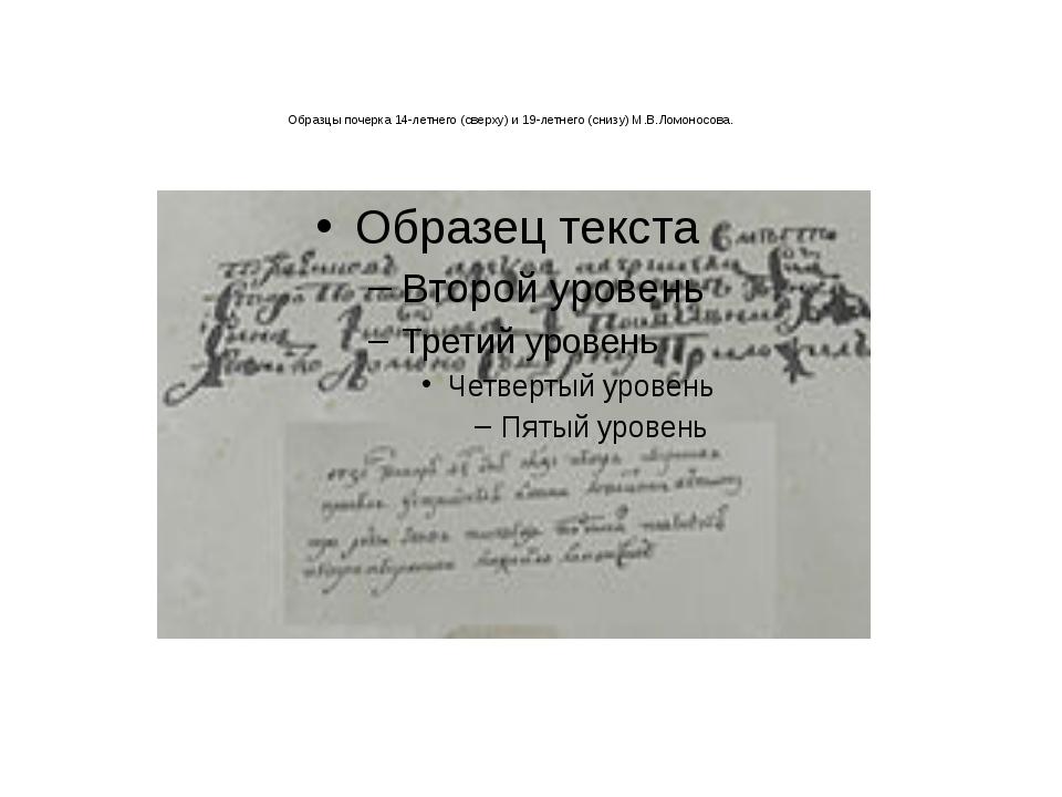 Образцы почерка 14-летнего (сверху) и 19-летнего (снизу) М.В.Ломоносова.