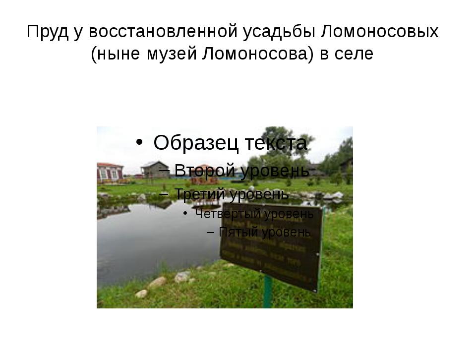 Пруд у восстановленной усадьбы Ломоносовых (ныне музей Ломоносова) в селе